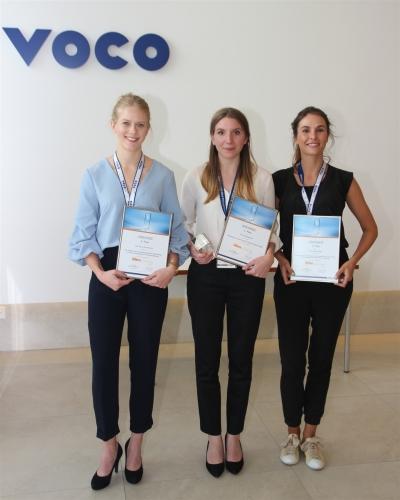 Die Preisträgerinnen 2017: Franziska Beck (Mitte), Sina Luisa Broscheit (l.) und Viktoria Varga (r.)